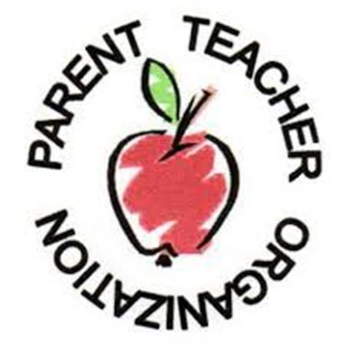 Parent Teacher Organization icon with apple in the middle